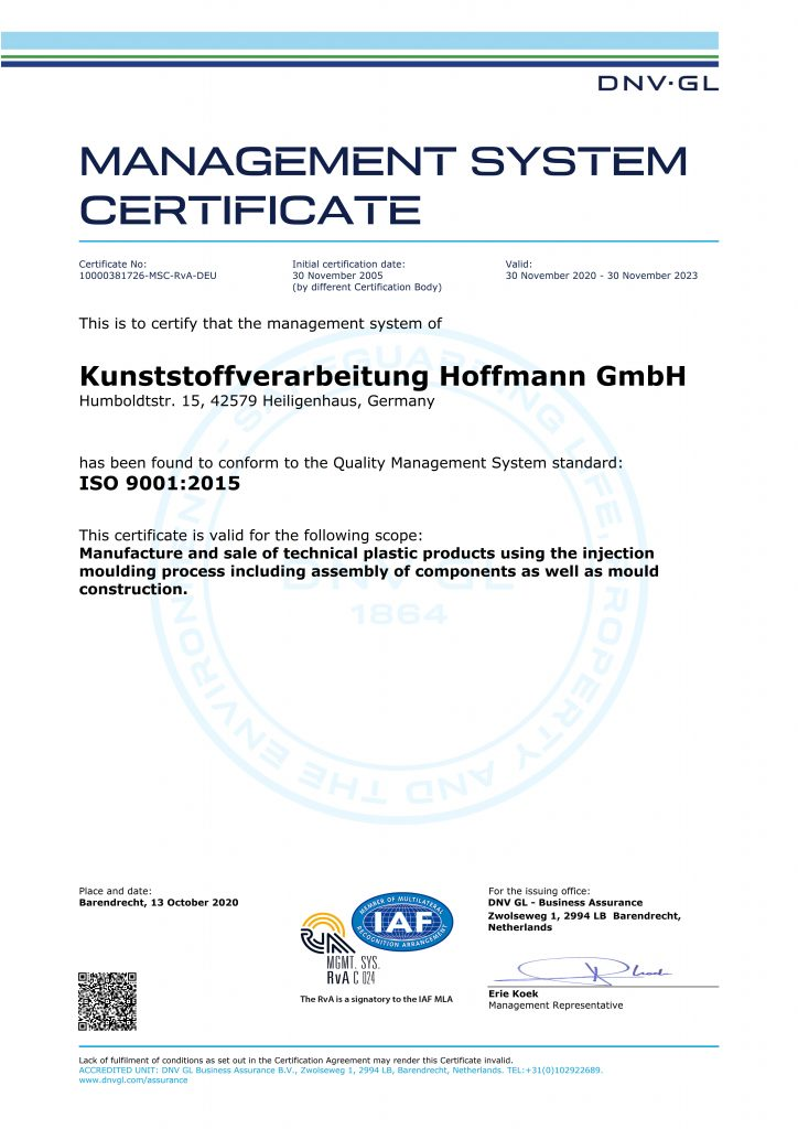 Actual certificate ISO 9001:2015 from DNV-GL
